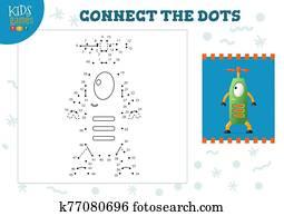 verbinden punkte, kinder, mini, spiel, vektor, illustration.