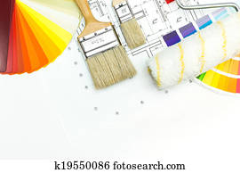 Work tools of house painter