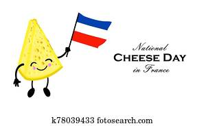 Cheese Day in France. National holiday of cheese. Cute character with arms and legs. French flag. Greeting card or poster..