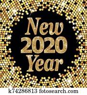 frohes neues jahr, 2020, vektor