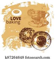 Hand drawn sketch happy birthday bakery vintage background. Tea time vector illustration