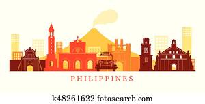 Philippines Architecture Landmarks Skyline, Shape