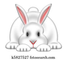 White Easter Bunny Isolated White Background