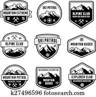 berg, vektor, insignias