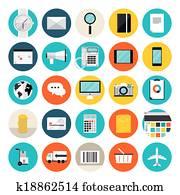 e-commerz, und, shoppen, flache, heiligenbilder