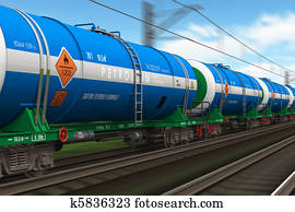 Freight train with petroleum tanks