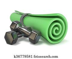 Green fitness mat and black weights