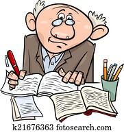 professor, oder, schriftsteller, karikatur, abbildung