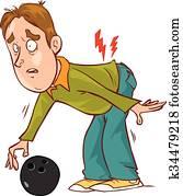 Vector illustration of a cartoon character back pain
