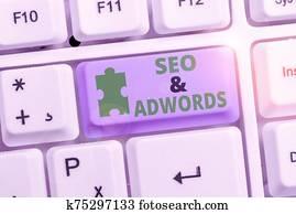 Writing note showing Seo And Adwords. Business photo showcasing Pay per click Digital marketing Google Adsense.