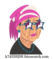 Fashion Senior Woman, Old Lady Character Wearing Trendy Clothes and Sunglasses Vector Illustration