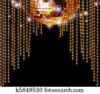 Golden disco ball and glitter curtains