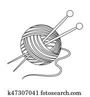 Knitting. Old age single icon in outline style bitmap, raster symbol stock illustration web.