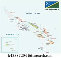 solomon Islands administrative and political map with flag