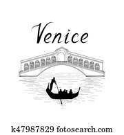 Venice famous place view Travel Italy background. City bridge.