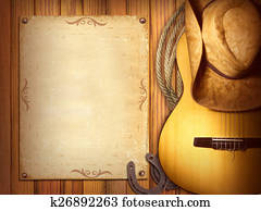 American Country music poster. Wood background with guitar