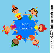 children celebrating Hanukkah and holding hands , Jewish holiday.