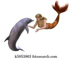 Dolphin And Mermaid