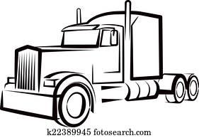 einfache, abbildung, mit, a, lastwagen