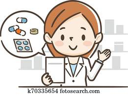 pharmacy with pharmacist and client in counter.