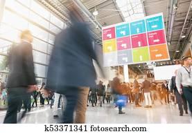 rush hour at a trade fair entrance