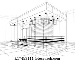 sketch design of interior shop