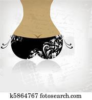 bikini boden, auf, grunge, background,, ansicht, back