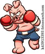 boxen, schwein