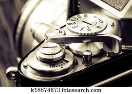 Detail of old classic camera in vintage style