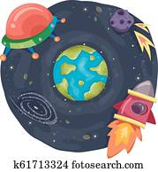 Earth Outer Space Illustration