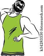 man back pain illustration