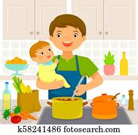 man with baby in the kitchen