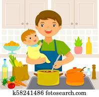 mann, mit, baby, küche