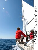 People on sailing boat