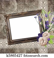 Vintage frame on grange roses background in stile scrapbooking
