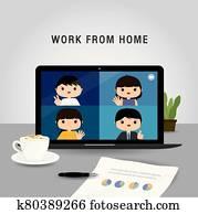arbeit, von, home,, mitarbeitergruppe, laptop benutzend, für, on-line- sitzung, in, konferenz, video, call., leute, hause, in, quarantine., zeichen, karikatur, vektor, abbildung