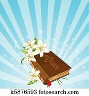 bibel, und, lilie, blumen, hintergrund