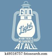 bible quotes, god is light in vintage lamp shape, from new testament from john, silhouette design
