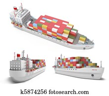 Cargo ship with containers isolated