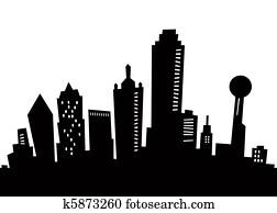 Cartoon Dallas Silhouette