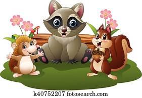 Cartoon funny hedgehog, raccoon