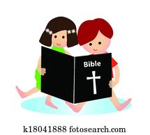 Child reading bible