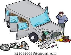 Aufreißen Von Mann Und Beschädigt Fahrzeug Clipart K27097580
