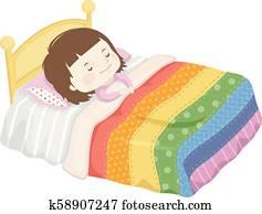 Kid Girl Sleep Bed Rainbow Blanket Illustration