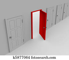 One open door and four closed