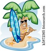 Palm Tree and Surfboard