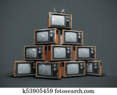 Pile of old retro TVs on dark background