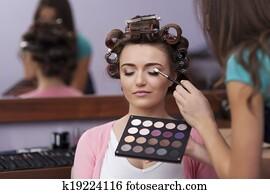 Preparation in hairdresser and makeup artist