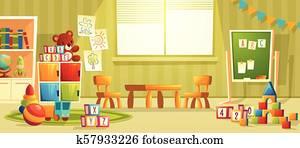 Vector cartoon interior of kindergarten room