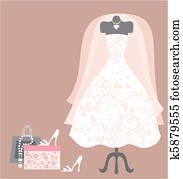 wedding dress and access